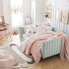 Home ideas cute teenage girls bedroom ideas: stylish teen girl room decor TO MAKE MOST SMALL ROOMS - Kids InteriorsGirls room with Ikea bedNorthridge Remodel: RoomNorthridge Remodel: Our customer wanted the Dream Rooms, Dream Bedroom, Master Bedroom, Bedroom Yellow, Warm Bedroom, Master Suite, Bedroom Bed, Small Bedroom With Couch, Pink And Beige Bedroom