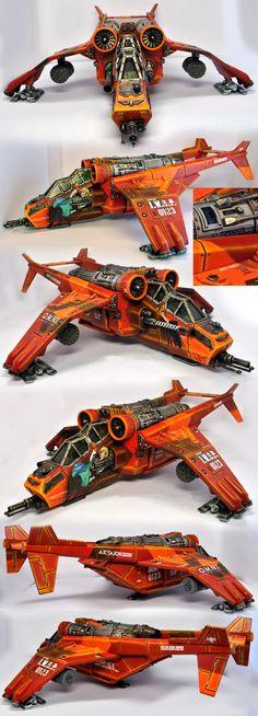 Imperial Guard, Warhammer 40k Valkyre/Vendetta gunship. Fun decals and paint