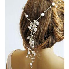 wedding hairband, pearl and rose headband, Bridal, crochet, Headpiece,... ($39) ❤ liked on Polyvore