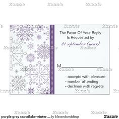 purple gray snowflake winter wedding rsvp 3.5 x 5 card purple gray snowflake mod elegant winter wedding rsvp standard size 3.5 x 5. Matching products also available.