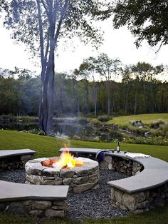 Fire Pit and seating by the dam. Design by Bonnie Edelmen