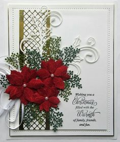 handmade christmas cards with poinsettias Christmas Cards 2018, Christmas Card Crafts, Homemade Christmas Cards, Xmas Cards, Christmas Greetings, Homemade Cards, Handmade Christmas, Holiday Cards, Christmas Vacation