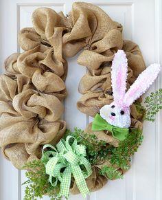 Poly-burlap mesh on large oval wreath with Hydrangea Bunny Head