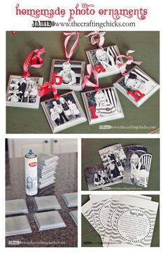 Handmade Photo Ornaments- great gift idea or to hang from garland on your mantel. Via Crafting Chicks