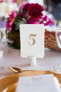Colorful Rustic Dallas Wedding from Sarah Kate - wedding table number idea Gold Calligraphy, Wedding Photo Gallery, Dallas Wedding, Wedding Table Numbers, Mod Wedding, Event Decor, Special Events, Real Weddings
