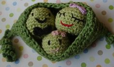 Organic Cotton Crochet Pretend Play Food For Toddlers--Two Peas in a Pod Amigurumi Toy. via Etsy.