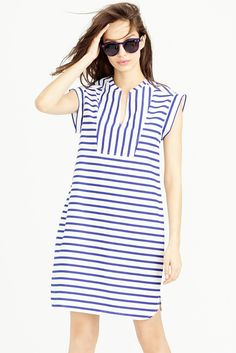 striped tuxedo shift dress