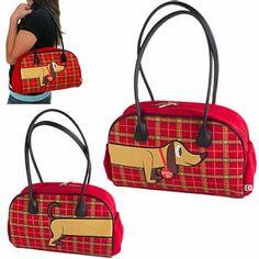 Plaid dachshund purse