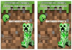 32 Best Minecraft Invitations Images Minecraft Birthday