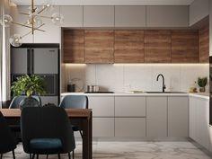 Simple Kitchen Design, Kitchen Room Design, Kitchen Cabinet Design, Home Decor Kitchen, Interior Design Kitchen, Loft Kitchen, Modern Kitchen Interiors, Apartment Interior Design, Decoration