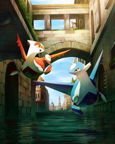 Quite sure this is fan art, and it's of 2 Pokemon: Latios and Latias from their debut movie. Latios Pokemon, Latios And Latias, Mega Pokemon, Play Pokemon, Pokemon Fan Art, Pokemon Games, Pokemon Movies, Pokemon Fusion, Fanart