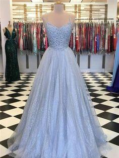 Spaghetti Straps Blue Tulle Evening Dress