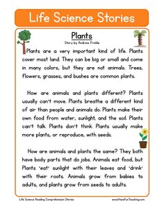This Reading Comprehension Worksheet - Plants is for teaching reading comprehension. Use this reading comprehension story to teach reading comprehension.
