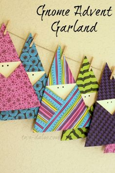 Paper Gnome Advent Garland (Can easily be changed to Santa or elves)