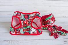 Red Christmas Green Holiday snowflake dog harness Dog