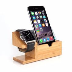 Schreibtisch design apple  Wood Bamboo Charger Stand Holder For Apple Watch for iPhone 4S 5S ...