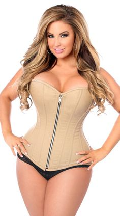 Amplify your curves in this tan cotton corset featuring a sweetheart neckline, a front zipper closure with privacy panel, built-in steel boning, and a lace-up back closure. (Panty not included.) Tan Steel Boned Cotton Corset, Tan Steel Boned Corset, Cotton Corset