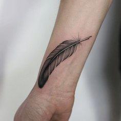 My first tattoo quill feather writing tattoo wrist 90 Feather Tattoo Designs That Will Tickle Your Fancy. My First Tattoo Quill Feather Writing Tattoo Wrist. Small Feather Tattoo, Eagle Feather Tattoos, Feather Tattoo Meaning, Peacock Feather Tattoo, Feather Tattoo Design, Ankle Tattoo, Forearm Tattoos, Henna Tattoos, Tatoos