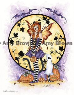 Halloween Kitty Costume Fairy print by Amy Brown