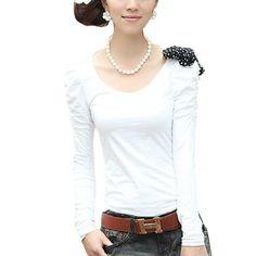 Allegra K Women Scoop Neck Puff Shoulder Shirt w Dots Print Bowtie Brooch White XS Allegra K. $9.63