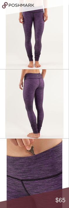 """Lululemon Wunder Under Pant Slub Denim Purple Yoga 📡PRICE IS FIRM AND NON-NEGOTIABLE. NO OFFERS. LOWBALLERS WILL BE BLOCKED. NO TRADES.📡 Lululemon """"Wunder Under"""" yoga pants in Slub Denim Tender Violet, size 4. Four-way stretch, second-skin fit. Engineered for serious stretch and recovery. Sweat-wicking and breathable. lululemon athletica Pants Skinny"""