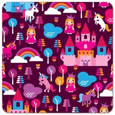 Buy PUL fabric in Fairy Tale Princess print by the yard or cut. Make cloth diapers, snack bags, and more! Made in USA. Waterproof, breathable, food safe, CPSIA compliant.