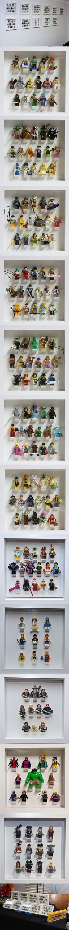 Collectible Minifigures in IKEA Ribba Frames - Trend Lego Box 2020 Legos, Minifigura Lego, Lego Display, Display Cases, Deco Lego, Lego Boards, Lego People, Ribba Frame, Lego Minifigs