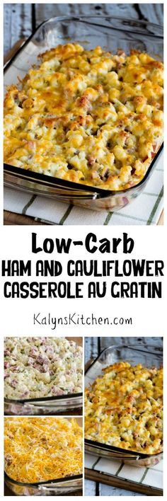 Low-Carb Ham and Cauliflower Casserole au Gratin is the perfect definition of Low-Carb Comfort Food! This delicious casserole is also gluten-free and South Beach Diet friendly. [found on KalynsKitchen (Simple Low Carb Dinner) Ham Recipes, Casserole Recipes, Low Carb Recipes, Cooking Recipes, Healthy Recipes, Ham Casserole, Recipies, Healthy Oils, Eat Healthy