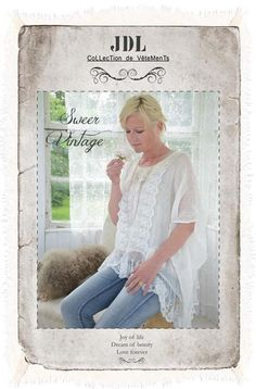 Sweet Vintage Poncho Cream from Jeanne d'Arc Living ~ available in the UK from www.bettyandviolet.com