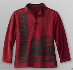 Boy Brick Red Fleece Truck Crush Hour Graphic Pullover by Toughskins - M(5-6) - Re-list February 12, 2014