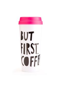 BUT FIRST COFFEE THERMAL MUG BY BANDO. WE DIDN'T WANT TO LEAVE YOUR HOT BEVERAGES OUT IN THE COLD, THEY DESERVE SOME STYLE TOO! OUR THERMAL MUGS WILL KEEP YOUR TEA OR COFFEE TOTALLY WARM AND COZY WHIL
