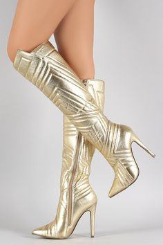 Liliana Metallic Quilted Patterned Stitch Pointy Toe Stiletto Boots