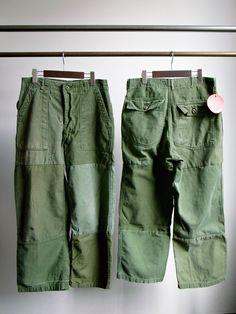 Sunny Side Up REMAKE FATIGUE PANTS : 山口ストアー(大阪農林会館ビル410号室) Vintage Pants, Vintage Denim, Unisex Fashion, Mens Fashion, Mode Outfits, Mode Inspiration, Work Pants, Military Fashion, Distressed Jeans