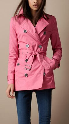 Burberry Brit Short Cotton Trench Coat in Pink (hydrangea pink) - Lyst