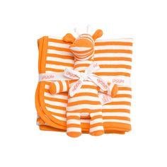 We love this striped blankie and giraffe combo for being organic, perfect for snuggling, and a great value.