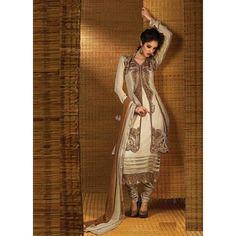 Off White Georgette #Churidar Kameez With Dupatta #Salwar #Dress #Clothing