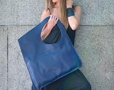 Tote Bag, Leather Tote, Large Bag, Blue Genuine Leather Tote Bag, Italian Leather Asymmetrical Tote Bag by EUG FASHION