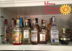 An ideal place to keep your liquor if you don't have a liquor cabinet is in the kitchen cabinet above your refrigerator, if you've got one! {featured on Home Storage Solutions 101}