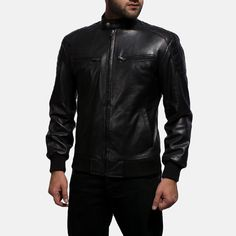 Mens Sven Black Leather Bomber Jacket Black Leather Bomber Jacket, Bomber Jacket Men, Bike Suit, Collar Styles, Cowhide Leather, Real Leather, Rib Knit, Suits, Jackets