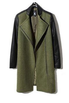 1617e9189250 Love leather sleeves Green Wool Coat