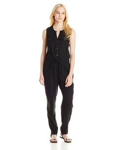 Fiere Womens Big Pockets Drawstring Casual Zipper Solid Color Formal Jumpsuit