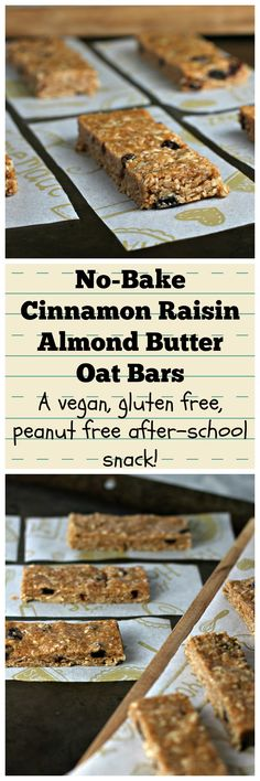 No-Bake Cinnamon Raisin Almond Butter Oat Bars!  A vegan, gluten free, peanut free after-school snack!
