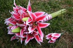 Pink Tiger Lily Bouquet and Boutonniere by thewildbride on Etsy