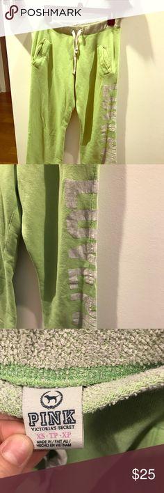 PINK sweat pants lime green comfy sweatpants PINK Pants Track Pants & Joggers