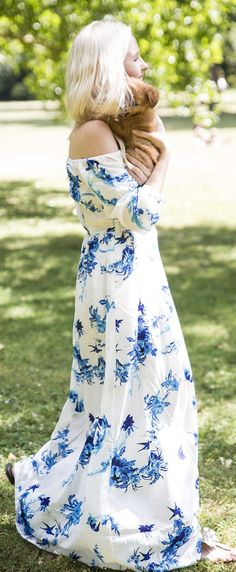 Morning Elegance Garden Party Off The Shoulder Maxi Dress