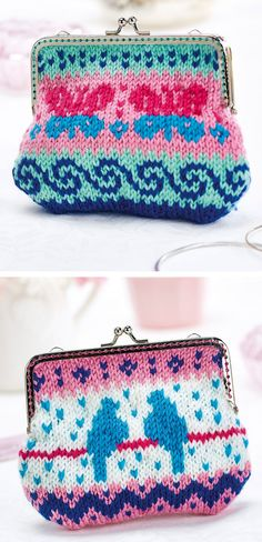 Free Knitting Pattern for - Butterflies and Birds Fair Isle Purses - These tiny bags feature colorful motifs of butterflies or birds. Designed by Lynne Rowe.