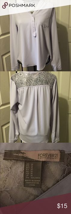 Lavender Lace Blouse Lavender Lace Blouse from Forever 21! In excellent condition! Size-M. #lace #forever21 #lavender #blouse Forever 21 Tops Blouses