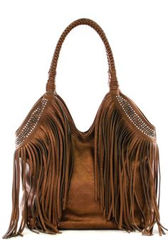 COWGIRL GYPSY PURSE Double Handle Rhinestone Studded Leather Fringe Western Bag Purse