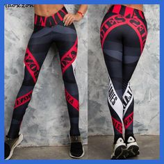 Compare Discount Maoxzon Womens Letter Print Sexy Slim Fitness Workout Bodycon Pants Fashion Active Elastic Skinny Leggings Trousers For Female