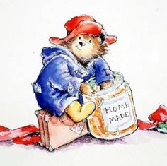 I loved Paddington Bear. I was born in Paddington hospital and liked Marmalade, so of course. Ours Paddington, Paddington Bear Books, Bear Illustration, Famous Books, Bear Print, Children's Literature, Painted Rocks, Childhood Memories, Childrens Books
